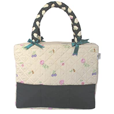 Cotton Narrow Handbag, Braided Handles, Plastic