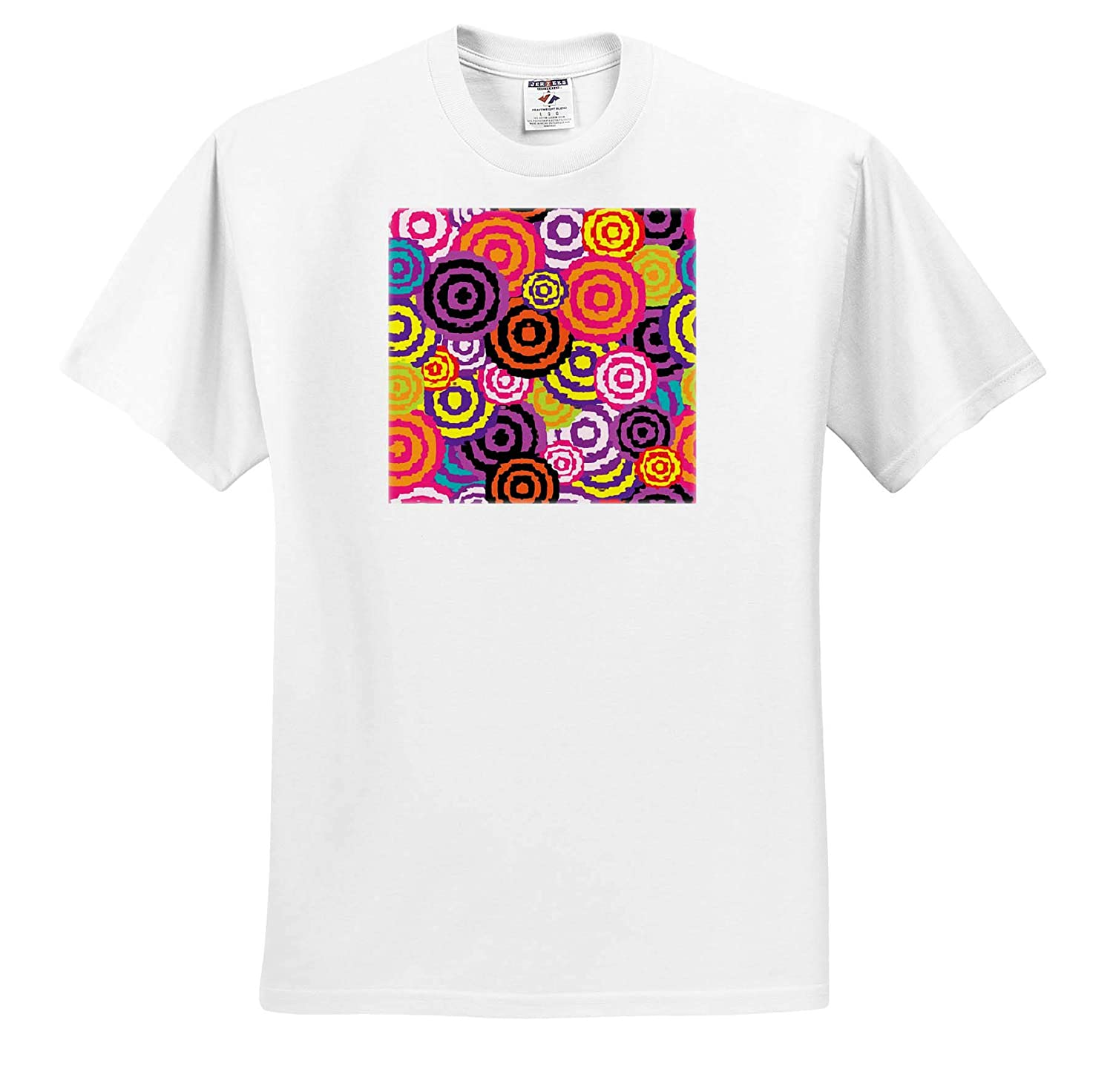 Image of Popping Circles of Purple Orange Yellow Pattern 3dRose Lens Art by Florene T-Shirts Three D Abstract Design