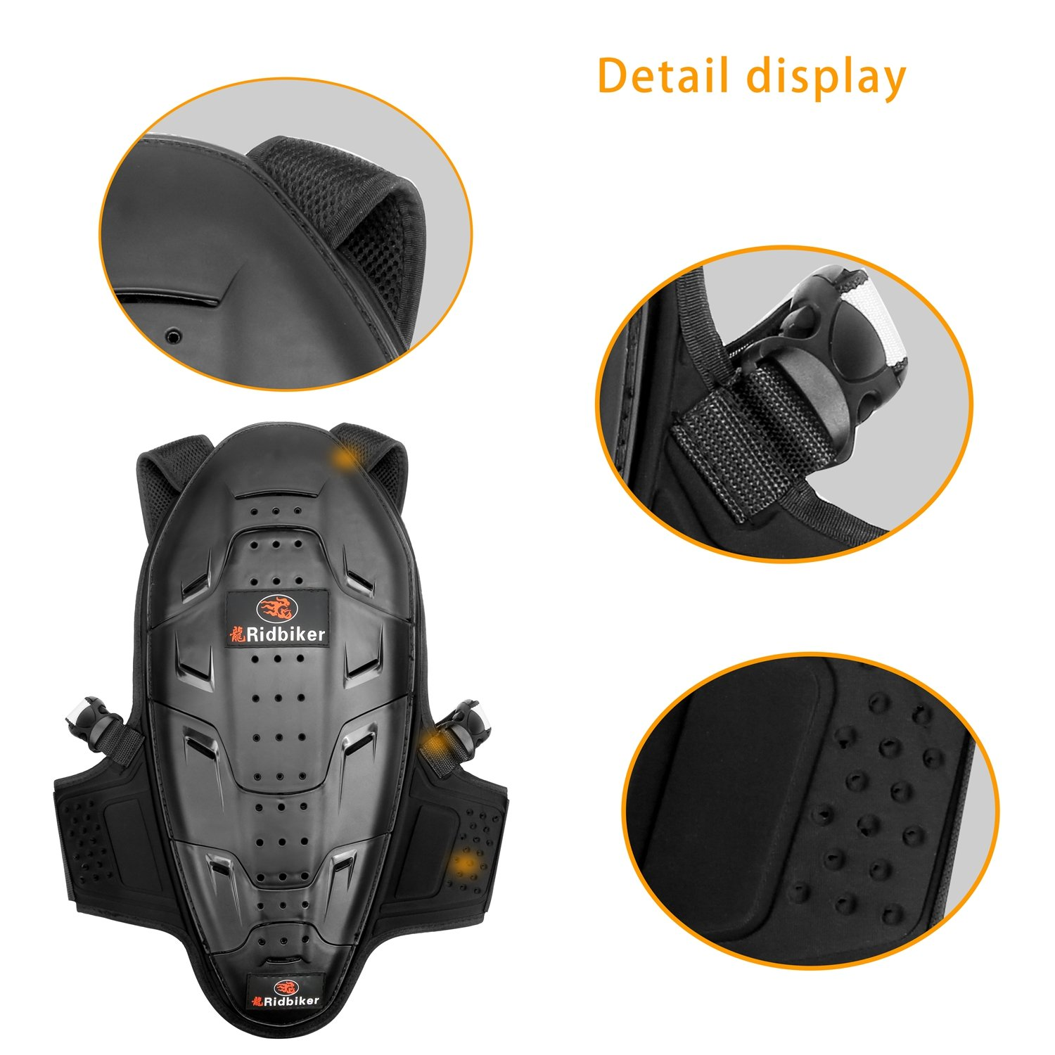 RIDBIKER Motorcycle Bicycle Back & Spine Protector Motocross Racing Spine Armor Skiing Riding Skating Anti-Fall Vest Protective Gear by RIDBIKER (Image #3)