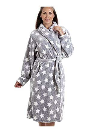 Camille Gray Supersoft Velour Fleece White Star Print Shawl Collar Bathrobe  14 16 Gray at Amazon Women s Clothing store  c3dc50540