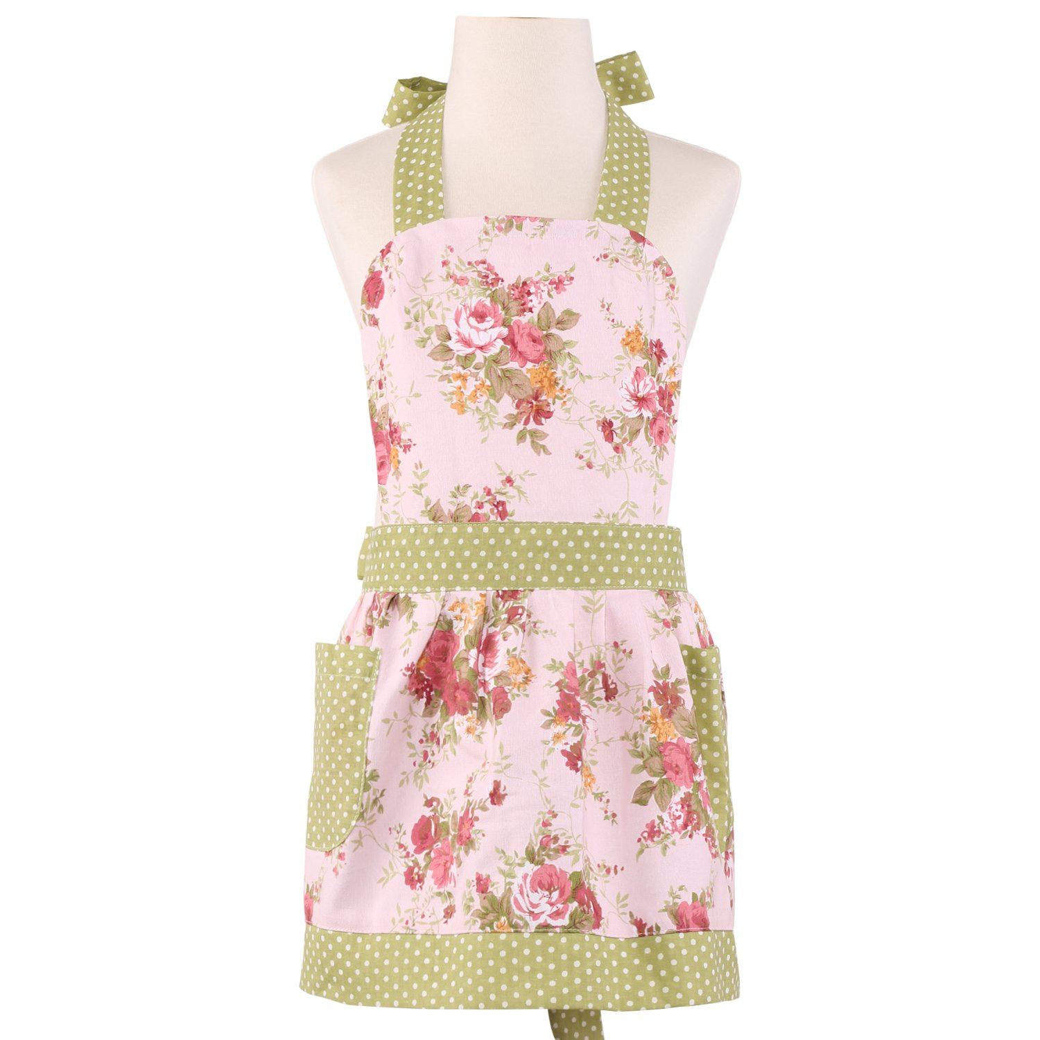 NEOVIVA Children Aprons for Kids Cooking, Baking, BBQ and Gardening, Heavy Duty Kids Aprons with Pockets for Little Curious Chef, Style Diana, Floral Quartz Pink