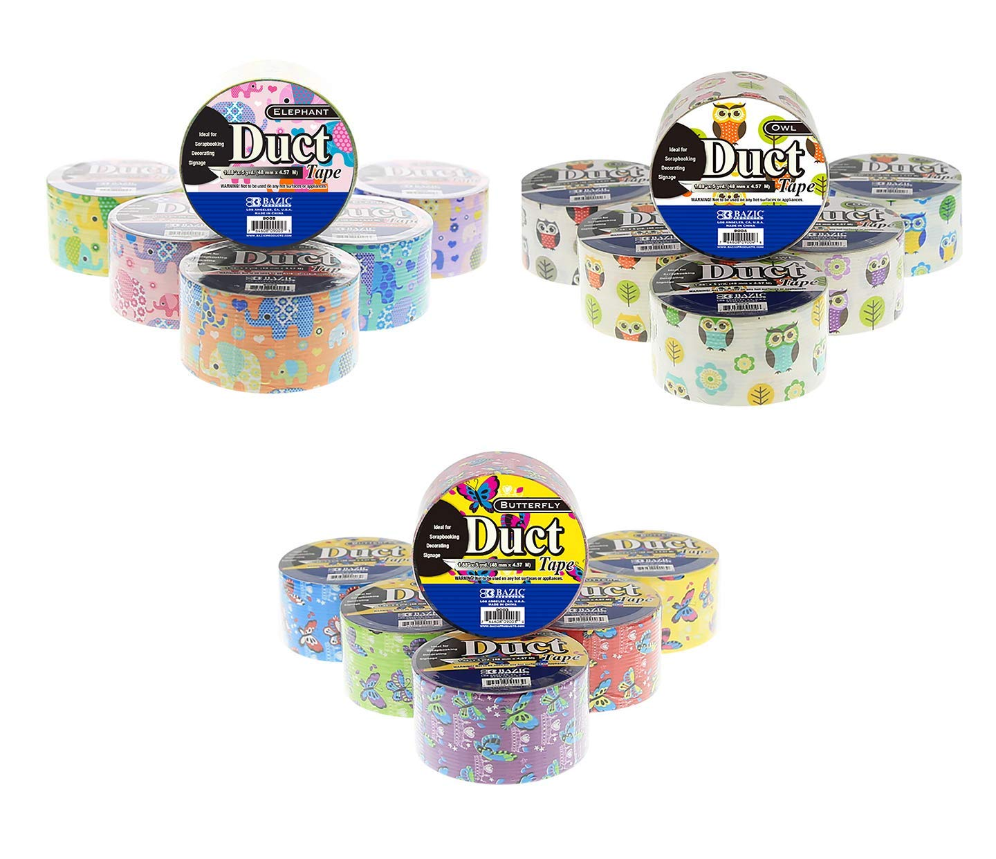 18 Roll Variety Pack Animal Print Butterfly, Owl, and Elephant Pattern Assorted Colored All Purpose Duct Tape