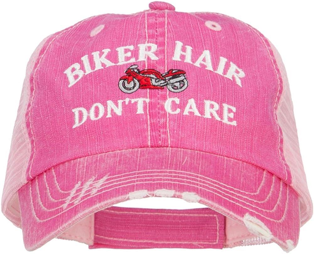 e4Hats.com Biker Hair Don't Care Embroidered Cotton Mesh Cap