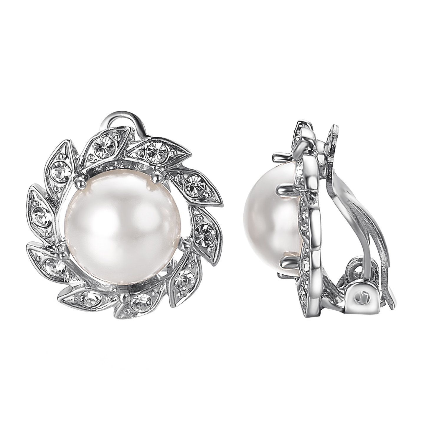 VOGEM Pearl Clip On Earrings For Women 18K White Gold Plated CZ Earrings Charm Brides Jewelry