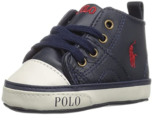Ralph Lauren Daymond Mid Layette, Zapatillas de Estar por Casa para Bebés, Azul (Navy Leather w Red PP), 17 EU