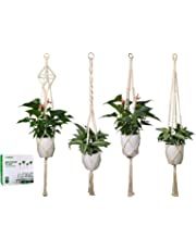 Luxbon 4Pcs Macrame Plant Hanger Handmade Woven Hanging Planters Cotton Plant Holder Wall Hanging Planter Basket for Indoor Outdoor Garden Patio Balcony Ceiling Decorations, 4 Legs 40 Inch