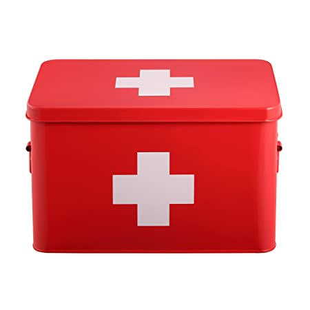 Mari Home Red Medicine Box By Medicine Tin With Double Layer And 5