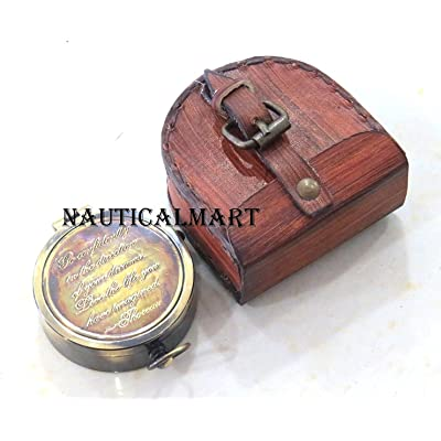 Thoreau's Go Confidently Poem Engraved Vintage Pocket Brass Compass By Nauticalmart