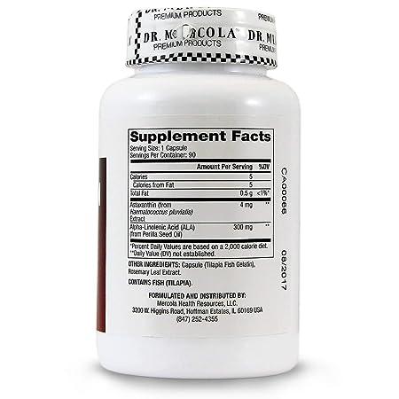 Los suplementos de primera calidad, la astaxantina, 90 Licaps Cápsulas - Dr. Mercola: Amazon.es: Salud y cuidado personal