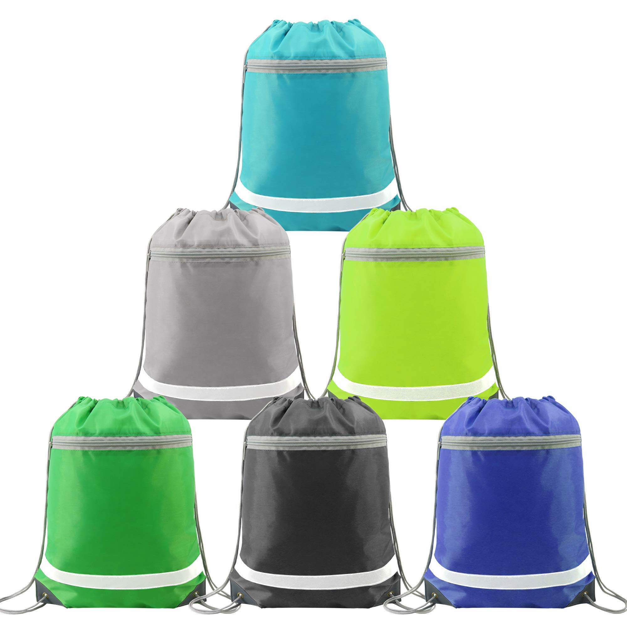 Drawstring Backpack Bags Bulk with Pocket, Cheap Gym Sacks Reflective Cinch Bags Sackpack 6 Pack