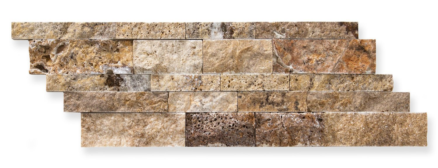 Scabos Travertine 7 X 20 Stacked Ledger Wall Panel Tile, Split-faced (5 PCS.)