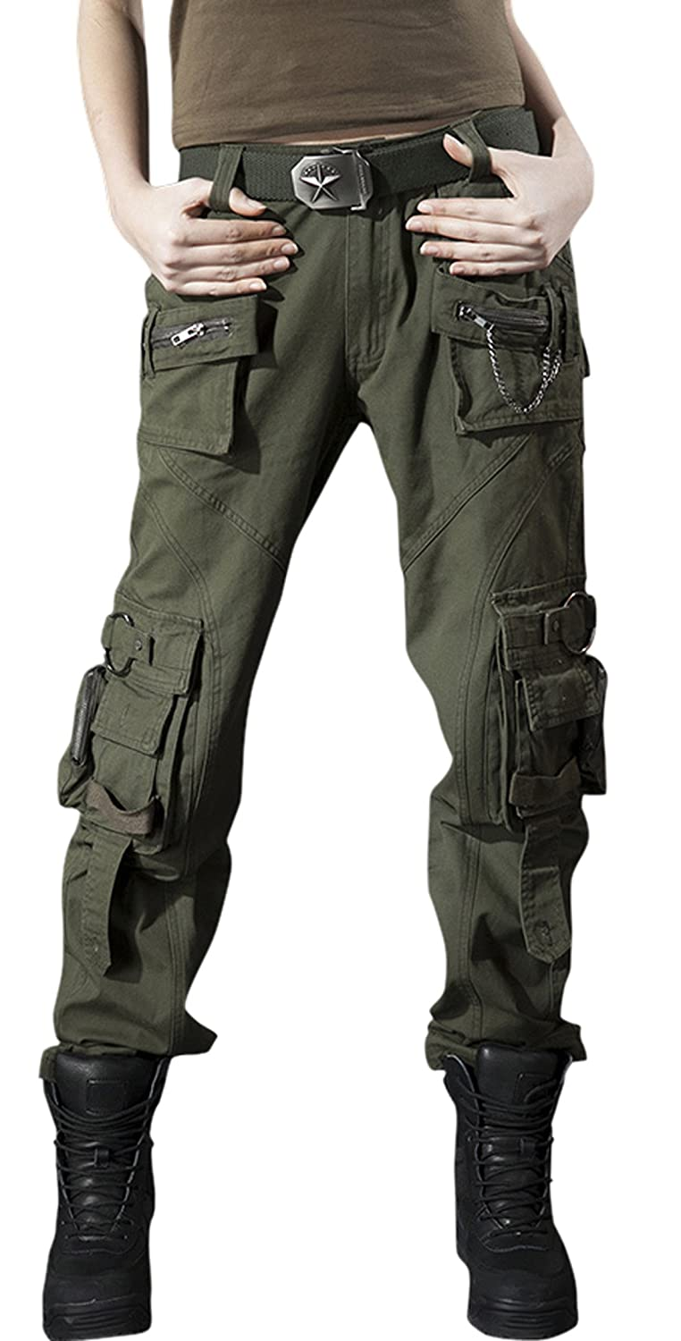 314d5bb0fb51 Chouyatou Women's Casual Camouflage Multi Pockets Cargo Pants: Amazon.ca:  Clothing & Accessories