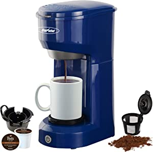 Single Serve Coffee Maker Brewer for Single Cup, K-Cup Coffee Maker With Permanent Filter, 6oz to 14oz Mug, One-touch Control Button with Illumination, Blue