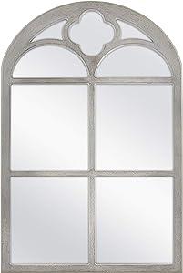 MCS Crested Arch Windowpane Wall Mirror