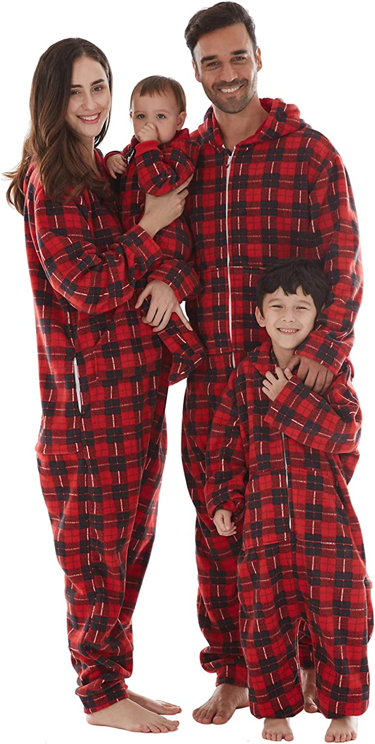 Microfleece Hooded Non-Footed One Piece Sleepwear for Womens Mens Boys Girls Baby Kids Dogs Christmas Onesies Family Pajamas Sets