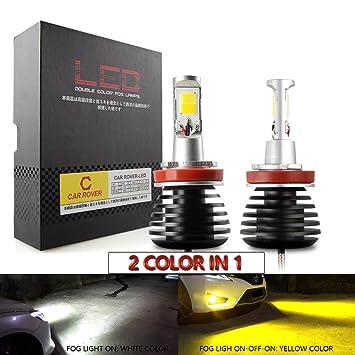 H11/H8/H9 LED Lámpara de niebla Blanco/Amarillo(6000K/3000K), 2800LM: Amazon.es: Coche y moto