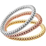 Citerna Gold Plated Silver 3 Colour Beaded Link Stretch Bracelet Set of Three 19 cm long