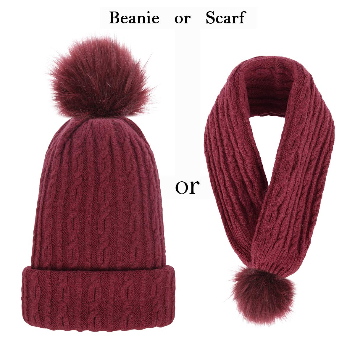 Dark Red OMECHY Women's Winter Knit Hat Trendy Slouchy Beanie with Warm Fleece Lining Skull Chunky Soft Thick Cable Ski Cap in 5 color