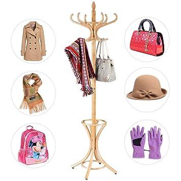 COSTWAY Garderobenständer Kleiderständer Jackenständer Mit Schirmständer  Garderobe Aufhänger 12 Kleiderhaken 184 Cm Farbewahl Holz (natur