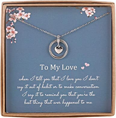 Amazon Com Infinity Necklace For Girlfriend Wife Sterling Silver Cute I Love You Heart Pendant 2 Circles Jewelry For Her Valentines Day Romantic Anniversary Birthday Gift Ideas Clothing