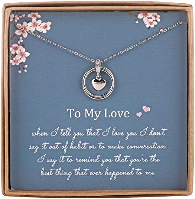 satisfied Mothers Day Necklace Gifts Sapphire Heart Pendant Necklace Romantic Present for Her