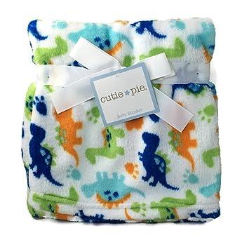 152c009185 Amazon.com  Cutie Pie White Baby Blanket Dino Dinosaur  Baby