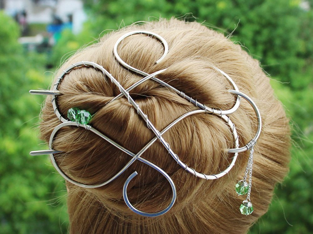 Large Celtic Silver Hair Clip Made with Nickel Silver Wire, Thick Hair with Silver Hair Bun Holder, Women Gift