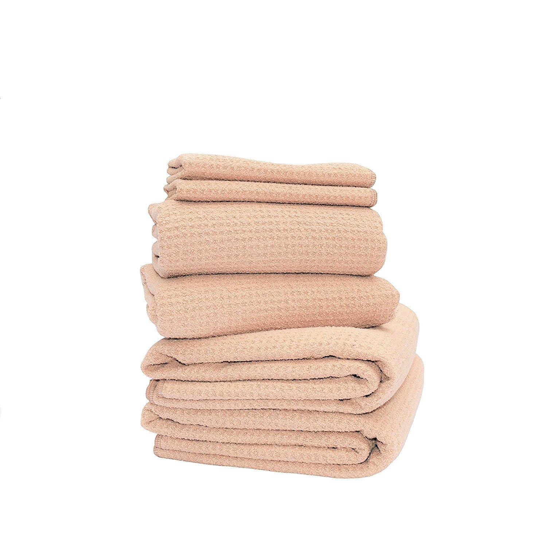 "Fina Ultra Absorbent Microfiber Waffle 6-towels SET - 2 Body(29"" X 55""), 2 Hair(19"" X 39"") N 2 Hands(12"" X 12"")towel. (Coffee)"