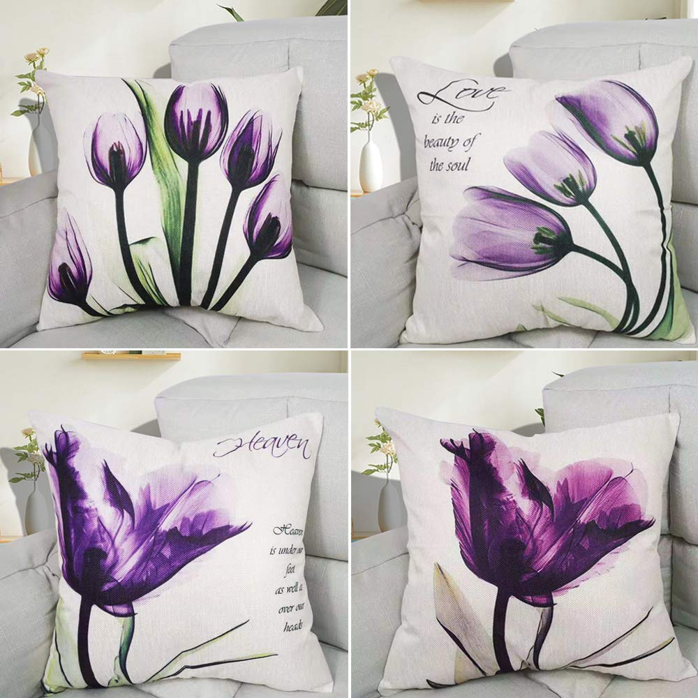 Hibedding Tulip Purple Flower LinenThrow Pillow Cover Sofa Couch Art Painting for Living Room Decor Cushion Cover and Modern Home Decorations Pillowcase