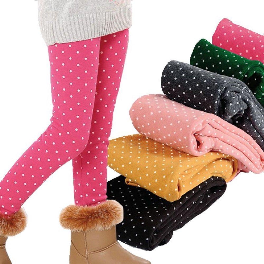 Girls Warm Winter Fleece Lined Leggings Dot Pattern Tight Stretch Pants