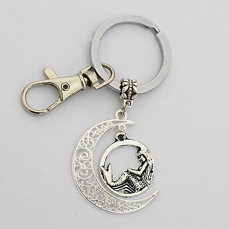 Cresent Luna sirena llavero, llavero, diseño de naturaleza ...