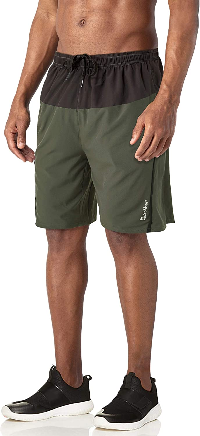 Hiking Jogging MAGCOMSEN Mens Running Shorts with Pockets Mesh Liner Quick Dry Shorts for Workout