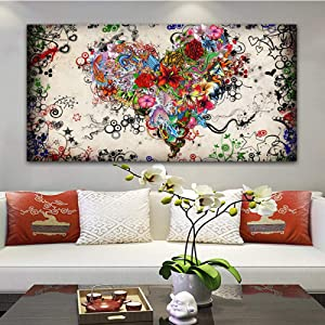 Canvas Print Painting,Beautiful Colorful Elegant Heart Shaped Flower Plant,Canvas Painting Wall Art Posters Prints No Frame Pictures Living Room Home Decoration,70X140Cm(28X56Inch)