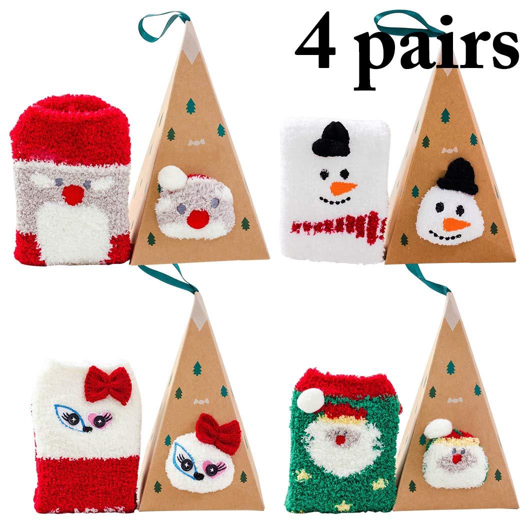 Bageek Calcetines de Navidad, 4 Pares Calcetines Navidad Mujer Santa Claus Muñeco de Nieve Calcetines