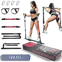INNOCEDAR Home Gym Bar Kit with Resistance Bands,Portable Gym Full Body Workout,60-180LBS Adjustable Pilates Bar System…