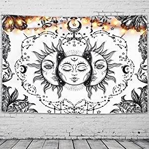 GeeRic Tapestry Sun and Moon Tapestry Wall Hanging Psychedelic Tapestry Black and White Beach Blanket Tapestry for Bedroom Dorm Decor(230x150 cms)