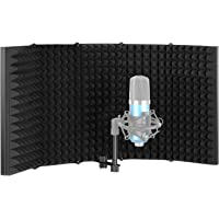 Neewer Pro Microphone Isolation Shield, 5-Panel Pop Filter, High Density Absorbent Foam Front & Vented Metal Back Plate…