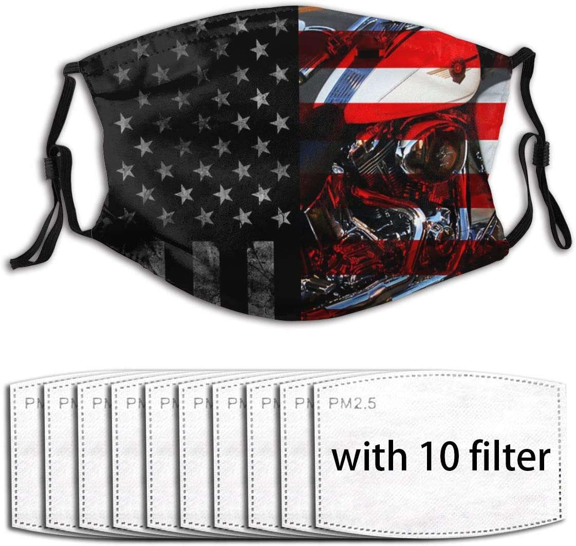 Comfy Mouth Cover with Replaceable 10 Filters Activated Carbon Guard for Outdoor Travel, Washable Skin-Friendly Adjustable Dust Cover, Vintage Black American Flag Harley Davidson Motorcycles USA Flag: Sports & Outdoors