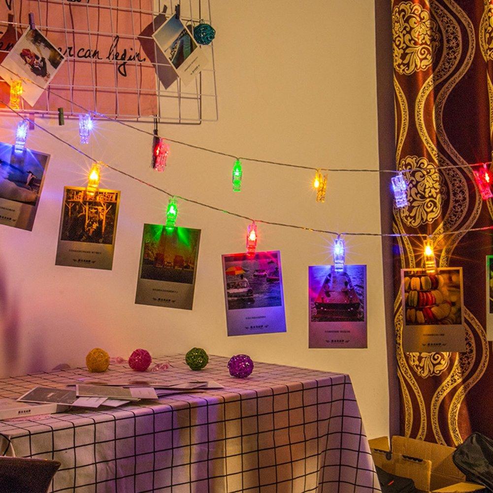 NNIUK 20 LED Foto Clip luci della stringa luci decorazioni a batteria natale per le foto note grafica decorazione wedding casa (colore).