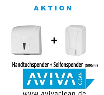 Set de dispensador de toallas de papel y jabón Aviva Clean, color blanco