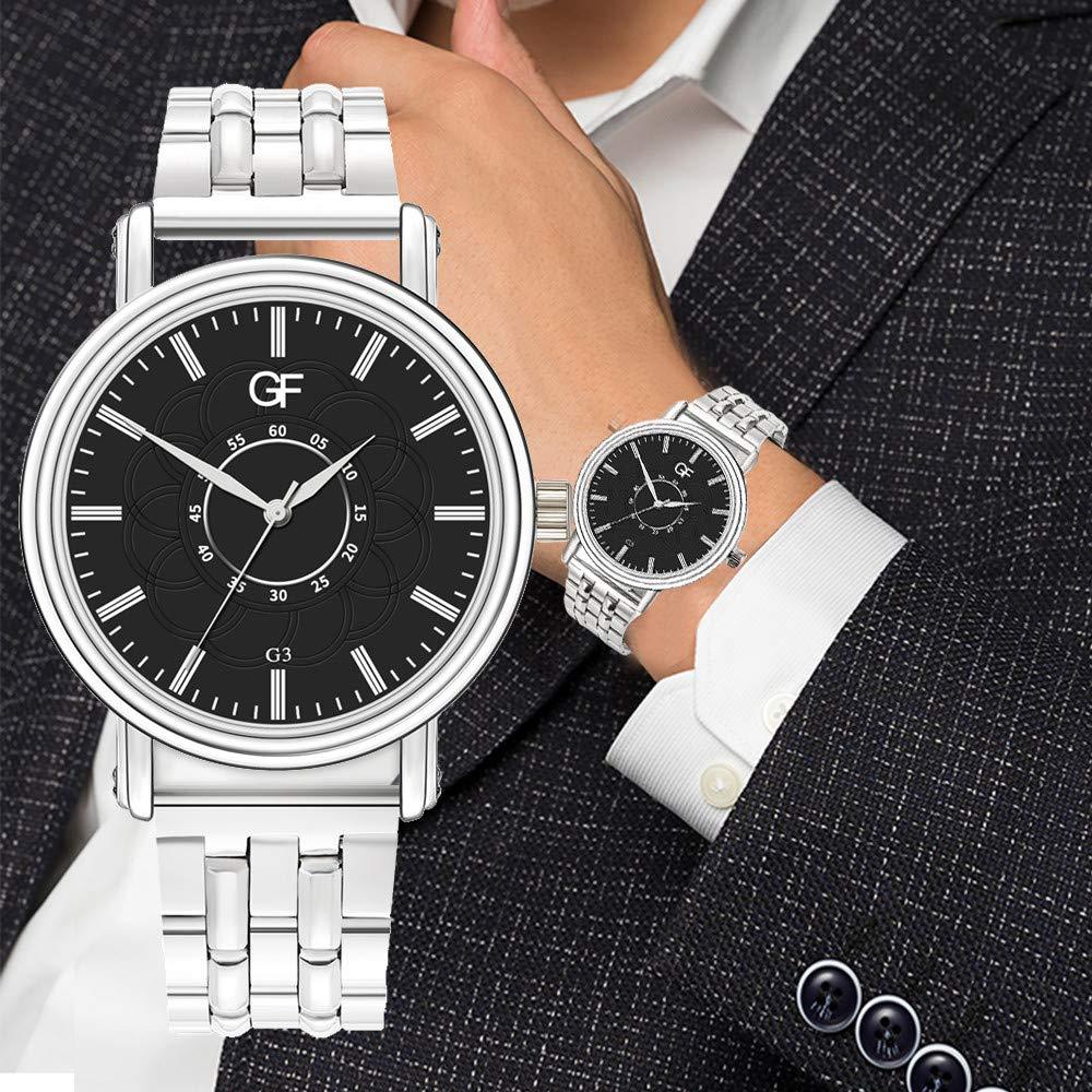 Amazon.com : XBKPLO Quartz Watches Mens Analog Wrist Watch Pointer Light Simple Business Stainless Steel Band Temperament Strap Watch Jewelry Gift : Pet ...