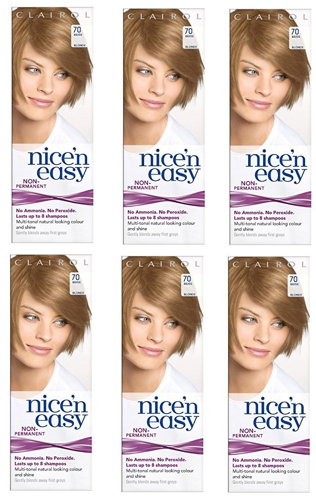Clairol Nice N' Easy Hair Color #70, Beige Blonde (Pack of 6) Uk Loving Care + FREE Old Spice Deadlock Spiking Glue, Travel Size.84 Oz
