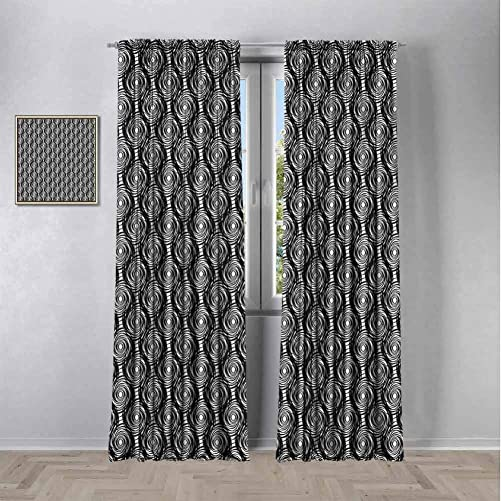 SONGDAYONE Starry Night Black Out Window Curtain 2 Panel,Monochrome Round Spiral Pattern with Swirls Modern Art Design Inspiration Curtains 96 inch Length Reduce Light Black and White W108 x L96 Inch