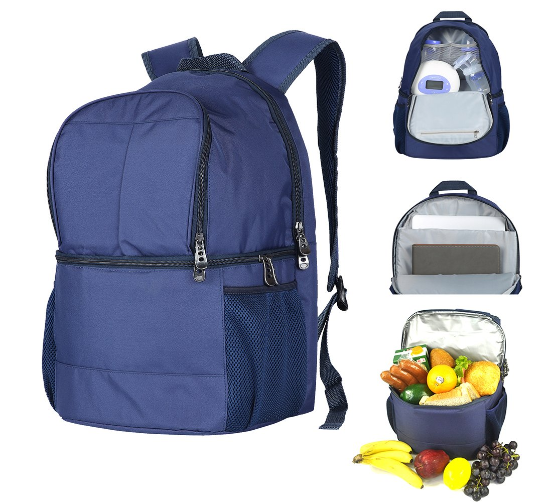 Outdoor Insulated Cooler Backpack,Lightweight Baby Diaper Bag With breastmilk storage Cooler,Water-resistant Daypack-Cooler Bag/Lunch Bag for Travel,Camping,Hiking-18inch,20Cans (Dark Blue)HKBUYEASY by HKBUYEASY