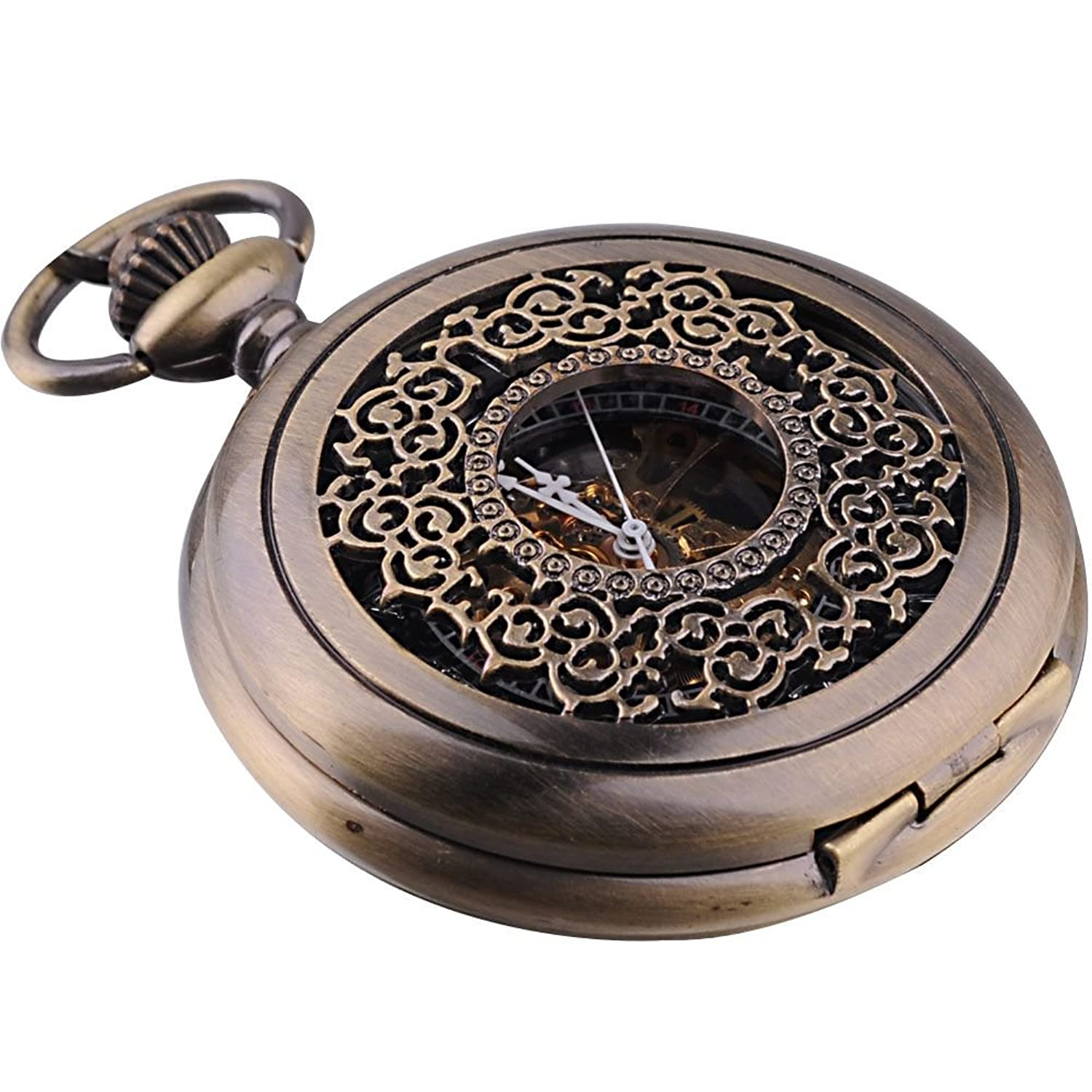 Mens pocket watches with chain images mens gold pocket watches gifts - Amazon Com Ampm24 Vintage Men S Mechanical Pocket Watch Brass Tone Chain Wk914 Watches