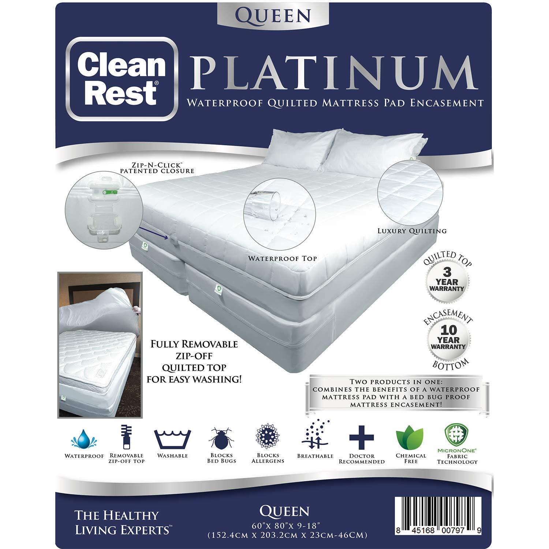 CleanRest Platinum Waterproof, Allergen Bed Bug Blocking Quilted Pad Encasement Queen Mattress Protector, White