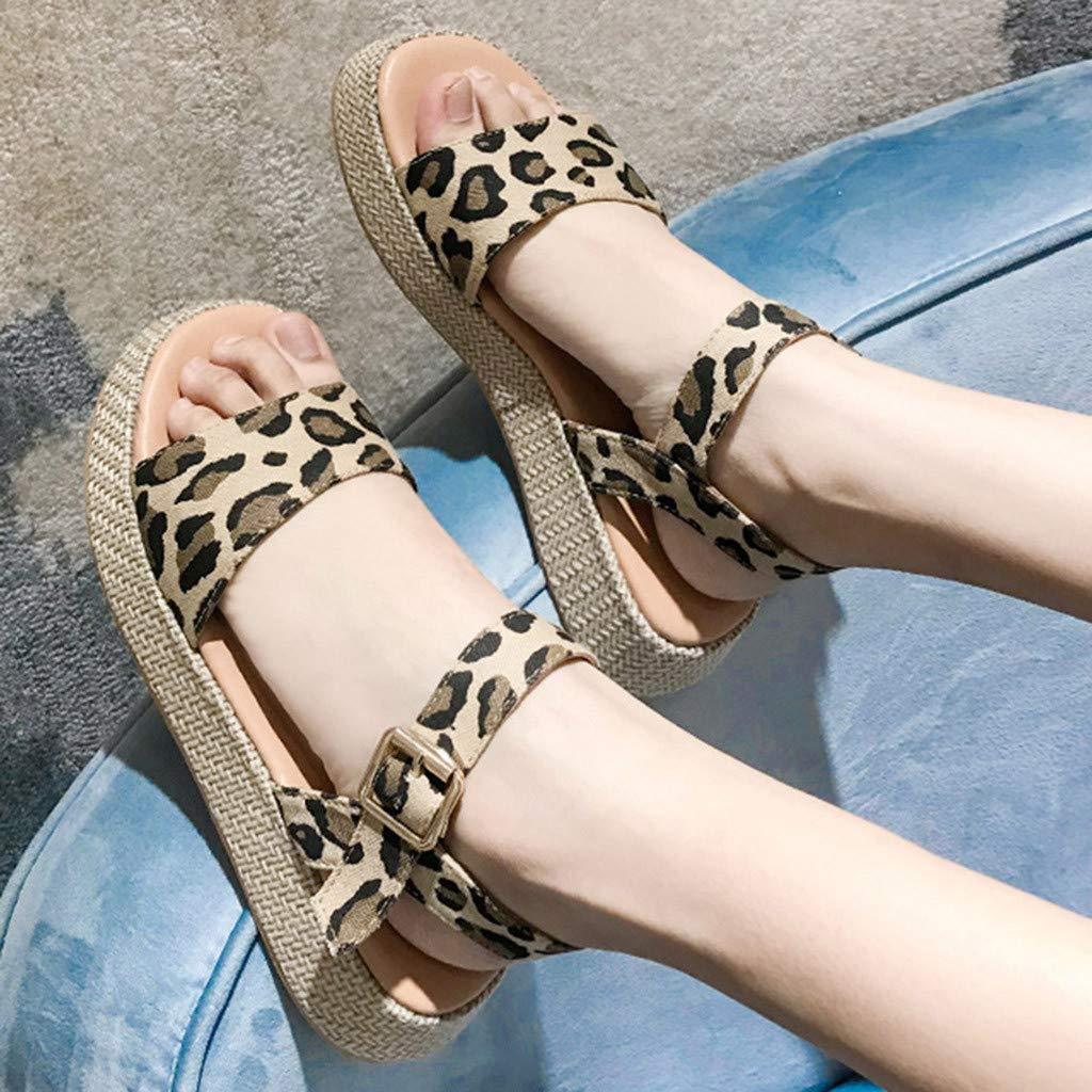 Orangeskycn Women Sandals Ladies Summer Leopard Print Thick Bottom Buckle Strap Solid Color Flat Causal Sandals Plus Size Brown by Orangeskycn Women Sandals (Image #2)