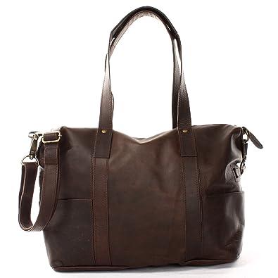 a844a7e763189 LECONI Shopper Vintage-Look Damen Henkeltasche Schultertasche Echt-Leder  Natur Damentasche Ledertasche Umhängetasche Handtasche