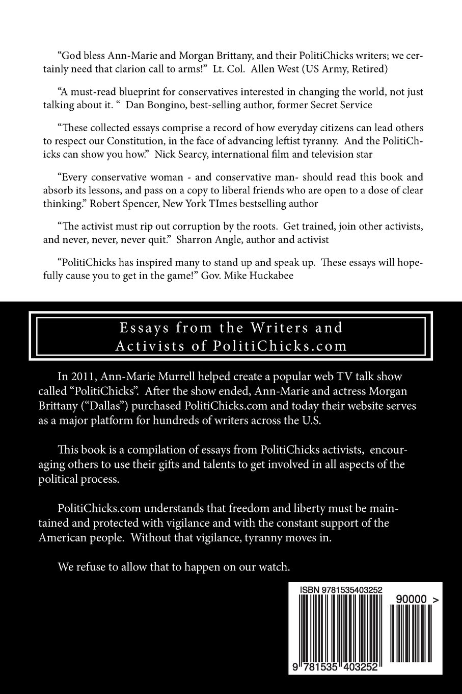 Politichicks: A Clarion Call To Political Activism: Essays From The Writers  And Activists Of Politichicks: Annmarie Murrell: 9781535403252:  Amazon: