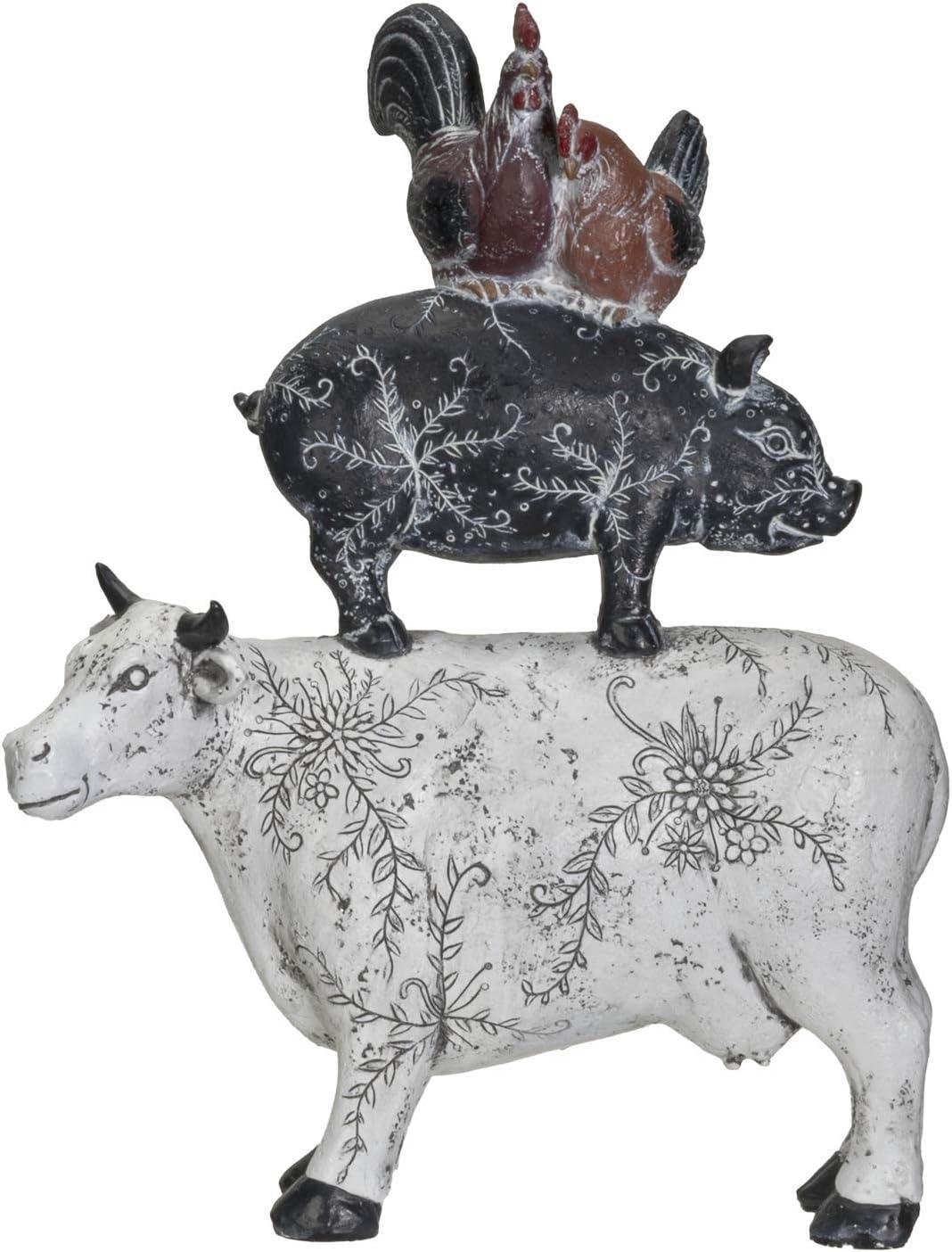 Pacific Giftware American Art Animal Farm Barnyard Stacked Animal Resin Figurine Statue (Cow/Pig/Chicken)